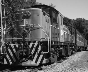 Black and white photograph of train